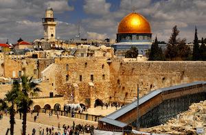 Cupula de Roca y Muro Occidental en Jerusalem